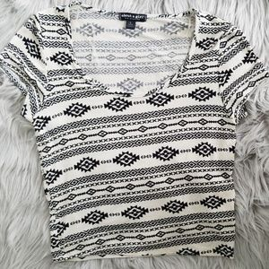 About a girl cream and black aztec crop top- Large